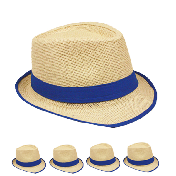 Brown Trilby Straw Fedora Hat with Blue Strip Band (036)