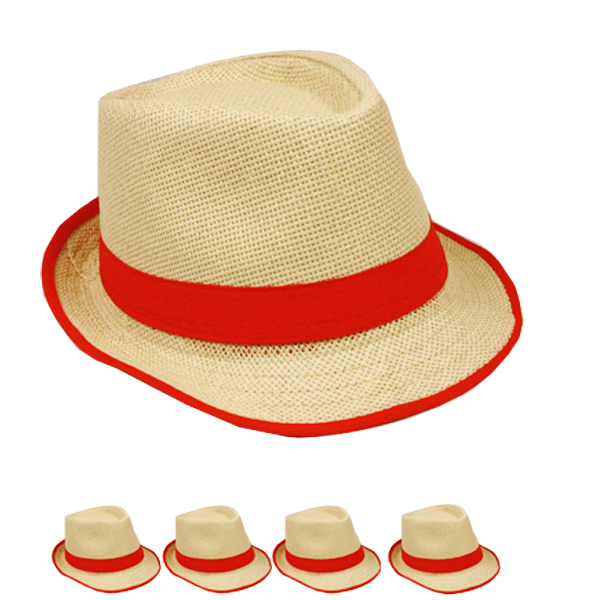 Brown Trilby Straw Fedora Hat with Red Strip Band (037)