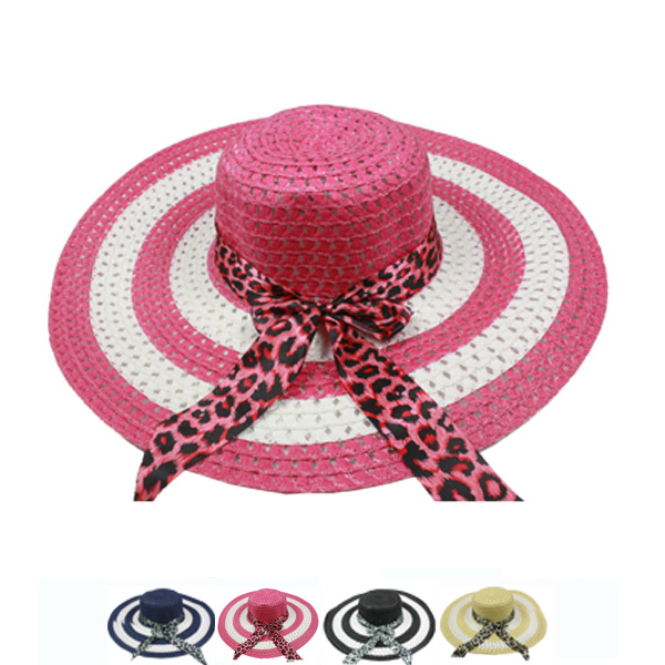 Wide Brim Panther Ribbon Women Summer Hat (009)