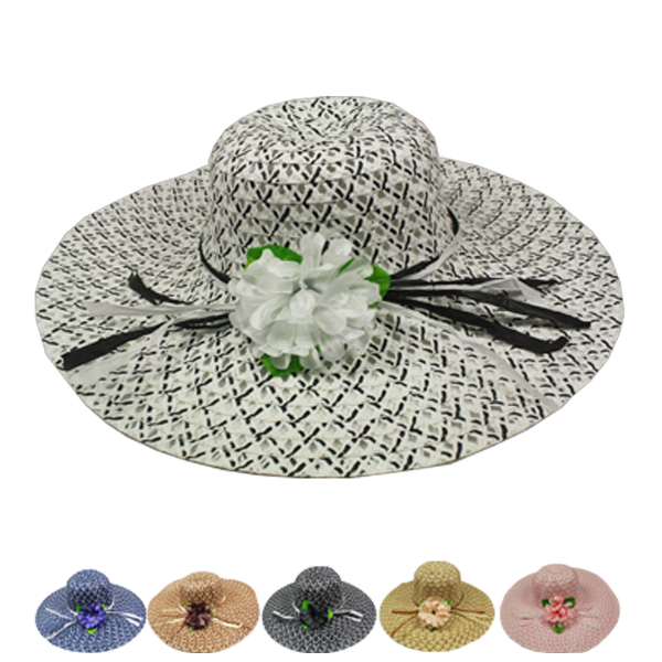 Floral Wide Brim Women Summer Beach Hat (013)