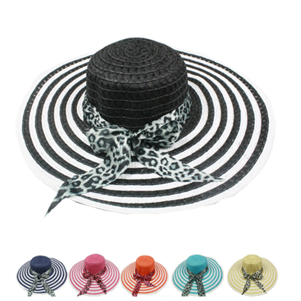 Elegant Woman Ribbon Bow Floppy Beach Hat (120)