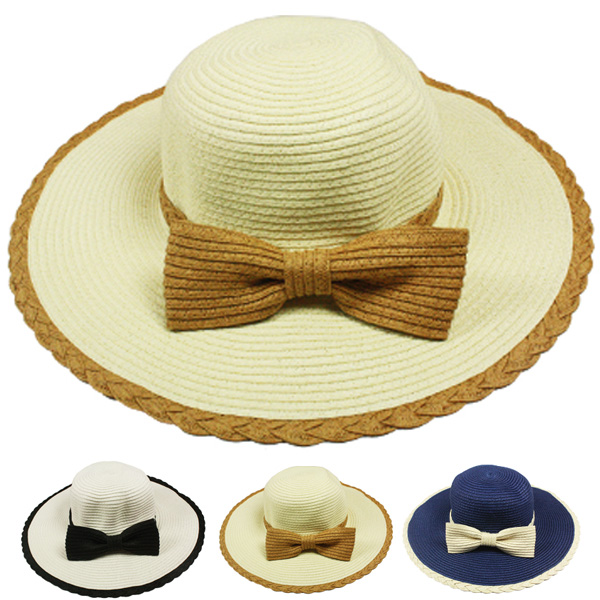 Woman Bow Tie Beach Summer Floppy Hat (021)