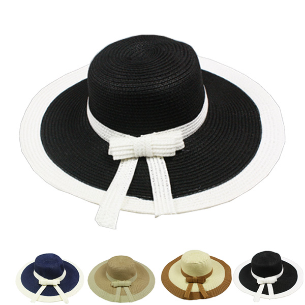 Exquisite Woman Bowknot Summer Straw Hat (023)