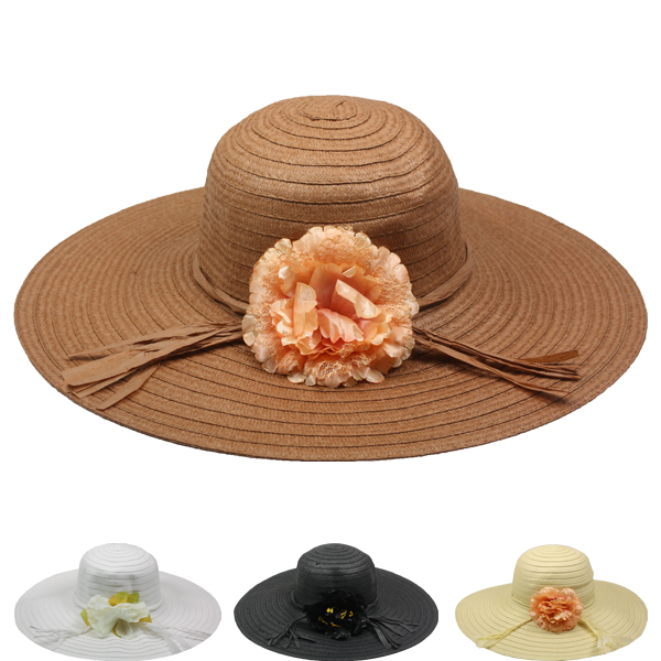 Floral Wide Brim Women Beach Floppy Hat (026)