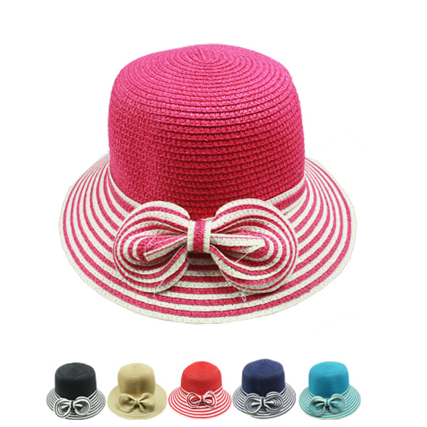 Woman Bow Tie Summer Beach Bucket Hats (032)