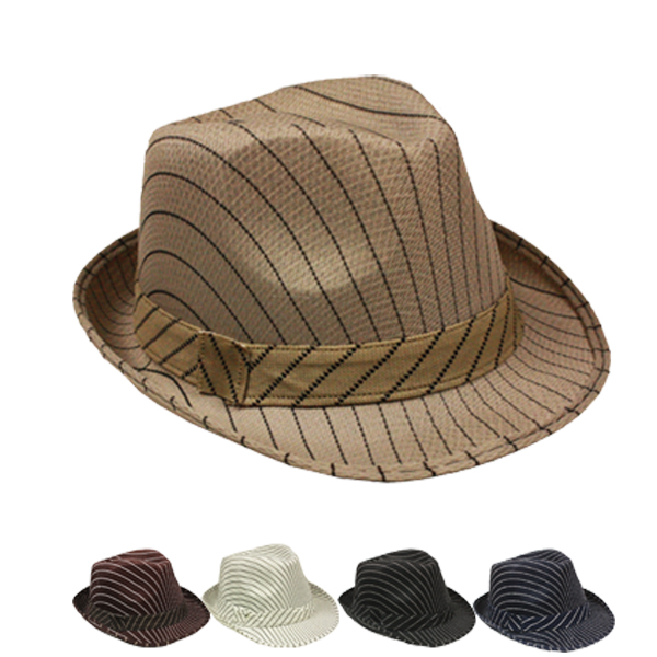 Pinstripes Trilby Fedora Hat Set Mix Color (086)