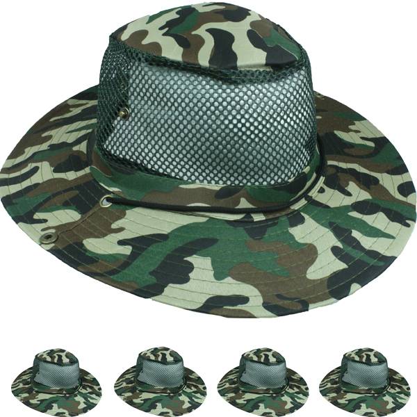 Men Fishing Hiking Mesh Camouflage Boonie Hat (008)