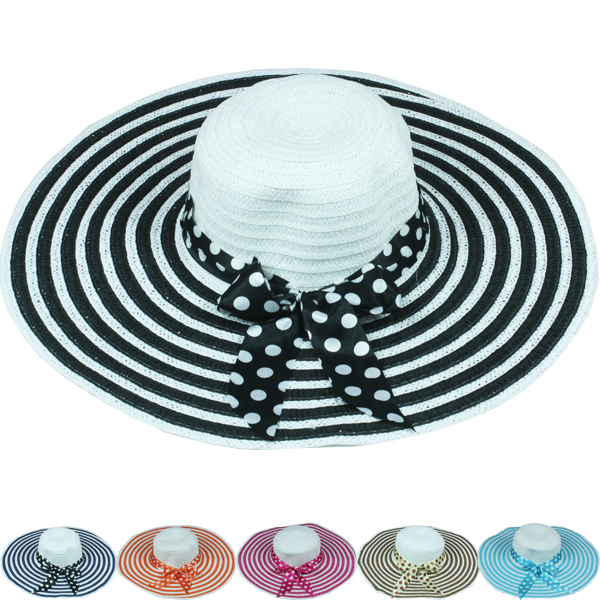Spiral Bow Ribbon Woman Summer Beach Hat (042)