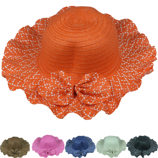 Woman Floral Brim Foldable Summer Beach Hat (040)