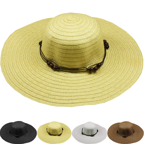 Woman Summer Beach Floppy Straw Hat (041)