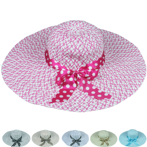 Women Floppy Ribbon Bow Summer Beach Hat (043)