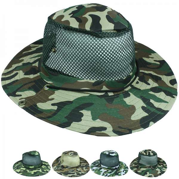 Men Hiking Army Camouflage Mesh Boonie Hat (011)