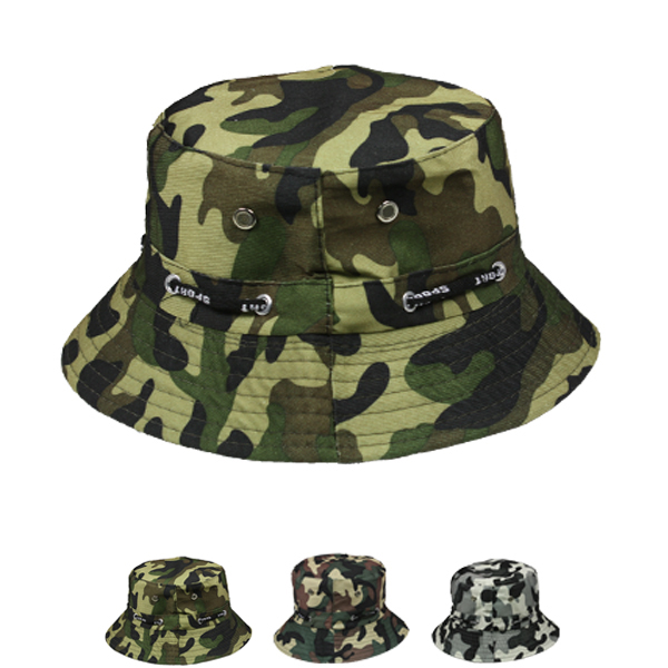 Men Camouflage Pattern Cotton Bucket Hat (031)