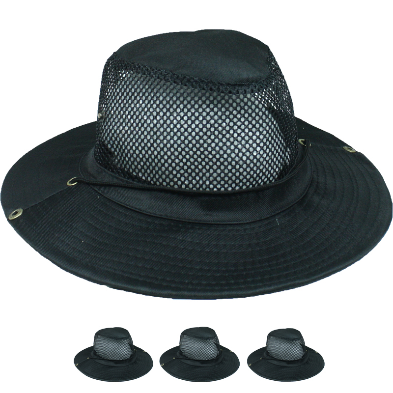 Men Black Color Breathable Hiking Boonie Hat (020)