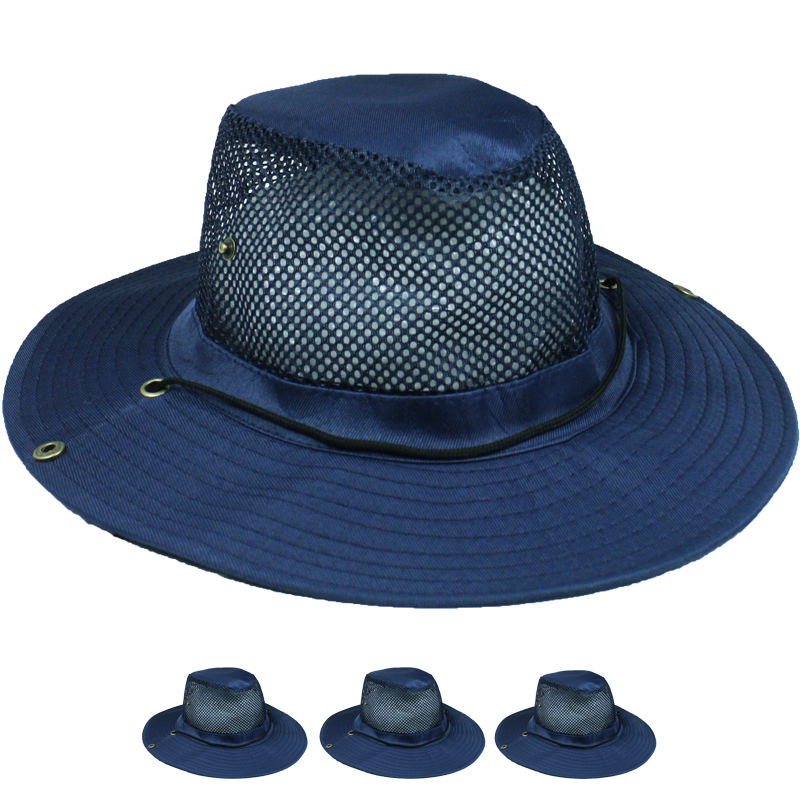 Men Navy Blue Breathable Mesh Hiking Boonie Hat (021)