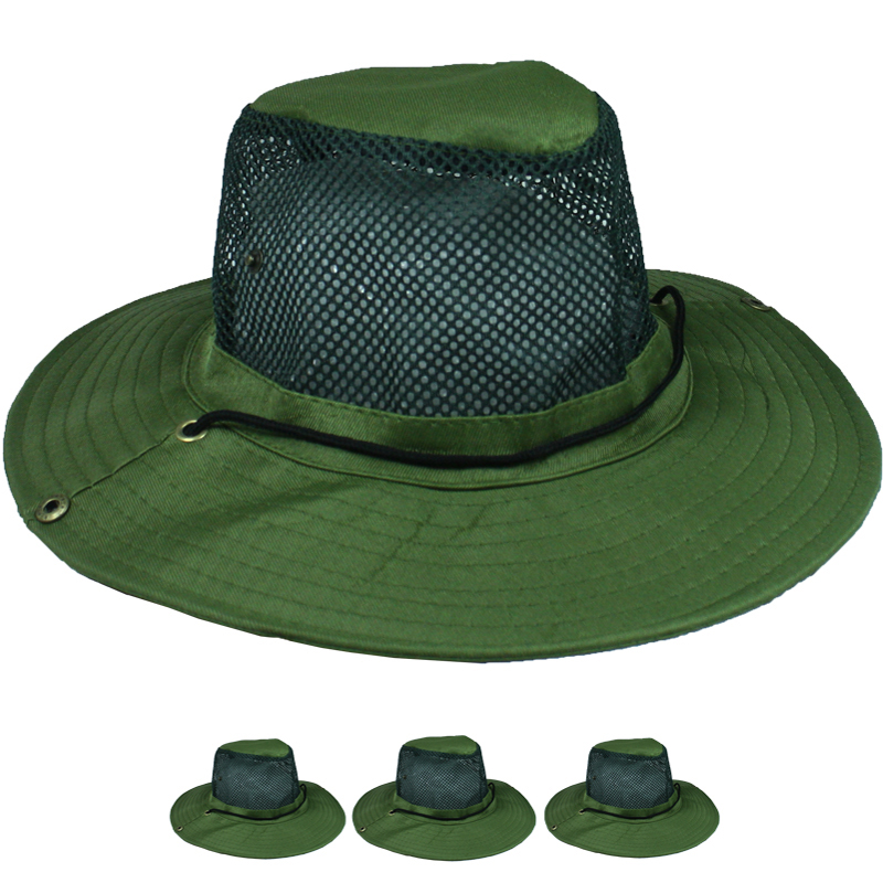 Men Olive Green Breathable Mesh Hiking Boonie Hat (022)