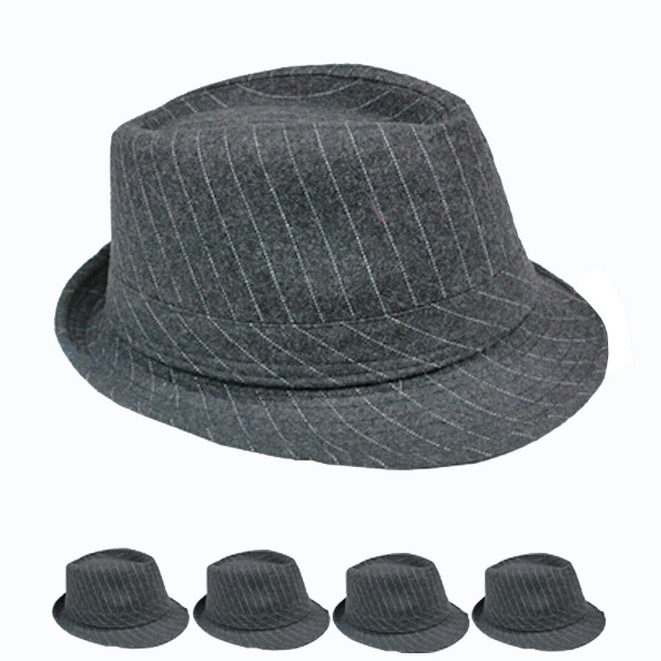 Pinstripes Melange Gray Adult Casual Fedora Hat (135)