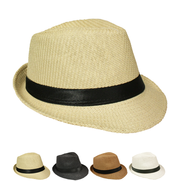 Classic Straw Trilby Fedora Hat with Black Ribbon Band (088)