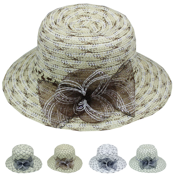 Women FLower Net Summer Beach Bucket Hat (050)