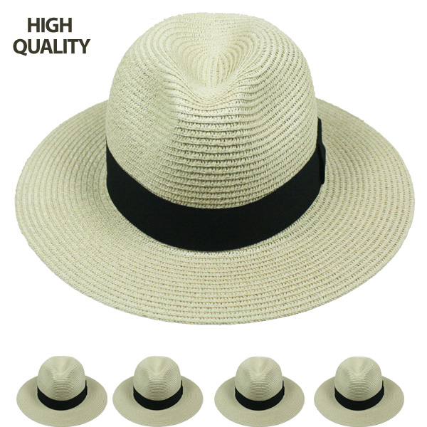 High Quality Beige Color Fedora Hat  with Black Strip (802)
