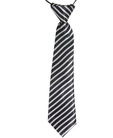 KID NECKTIE 410 BLACK WHITE LINES