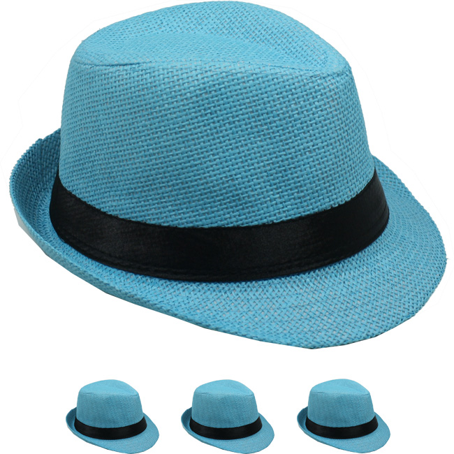 Turquoise Blue Paper Straw Black Banded Kid Trilby Fedora Hat (0005)