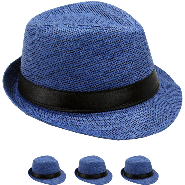 Navy Blue Paper Straw Black Banded Kid Trilby Fedora Hat (006)