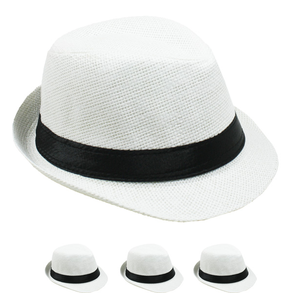 White Paper Straw Black Banded Kid Trilby Fedora Hat (004)