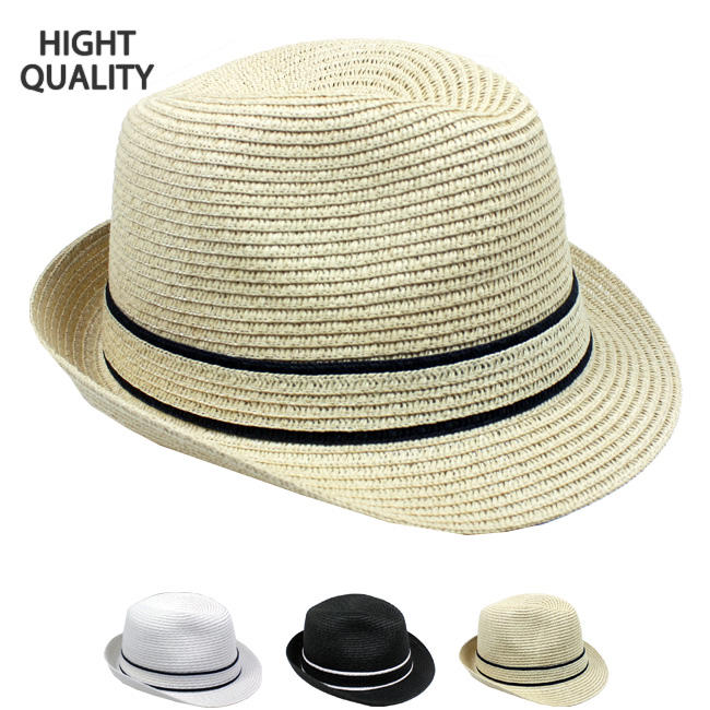 High Quality Paper Braid Straw Trilby Fedora Hat (199)