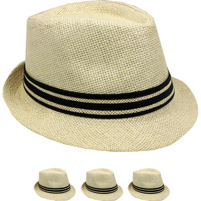 Classic Brown Straw Trilby Fedora Hat with Strip Band (090)