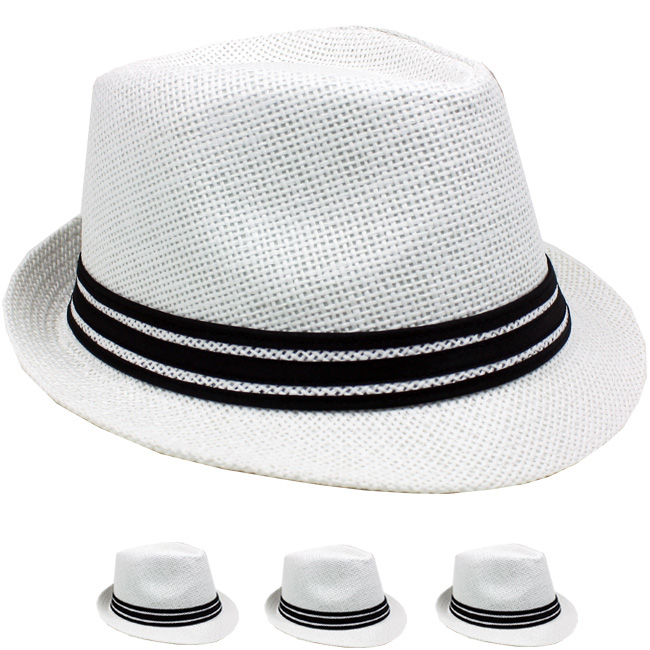 Classic White Straw Trilby Fedora Hat with Strip Band (089)