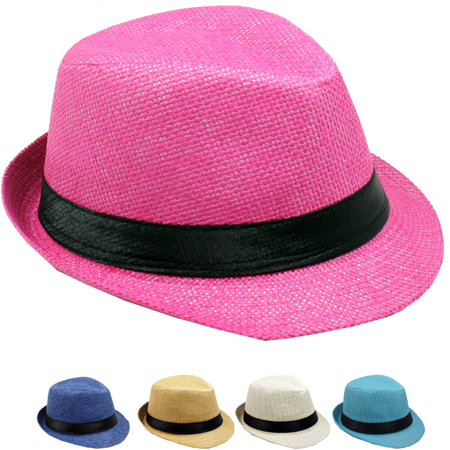 Paper Straw Casual Kid Trilby Fedora Hat Set Mix Color (008)