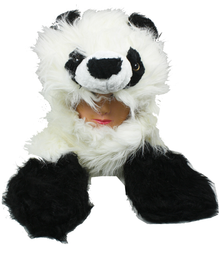 Faux Fur Panda Animal Character Builtin Paws Mittens Hat (0090)