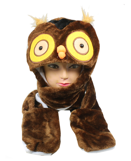 Cute Plush Owl Character Builtin Paws Mittens Animal Hat (088)