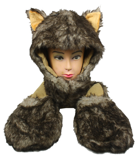 Soft Plush Husky Animal Character Builtin Paws Mittens Hat (092)