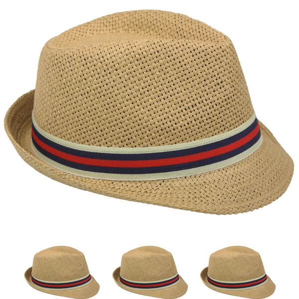 Adult Casual Straw Trilby Fedora Hat (009)