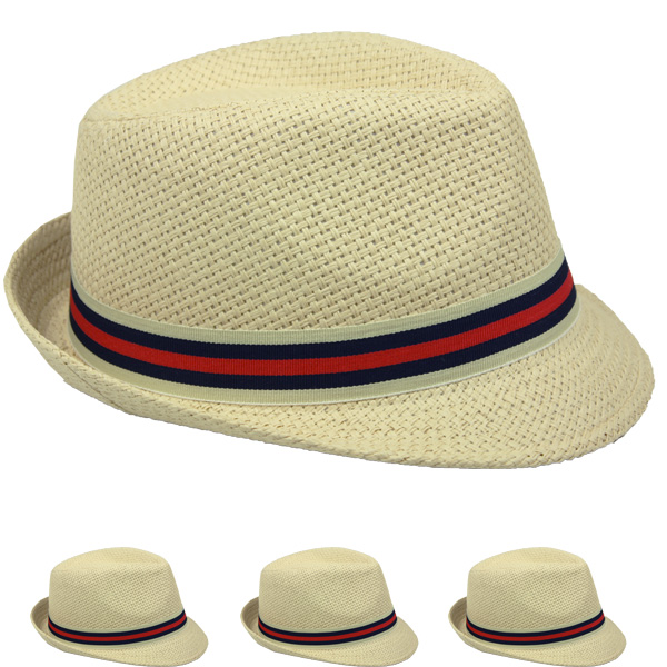 Adult Casual Straw Trilby Fedora Hat (008)