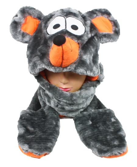 Cute Plush Mouse Animal Character Builtin Paws Mittens Hat (062)