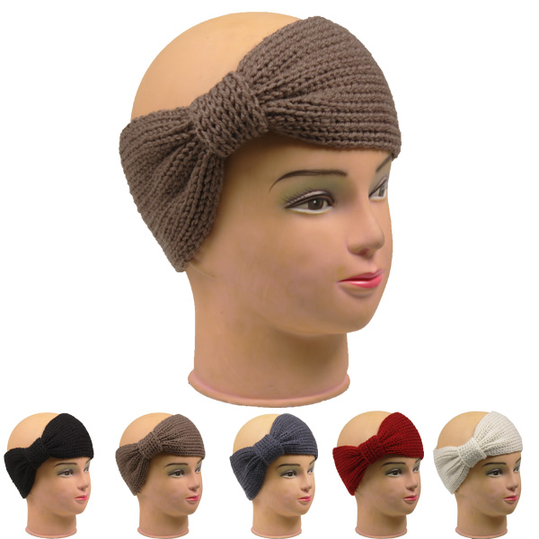 Knitted Women Bow Shape Woolen Headband (008)