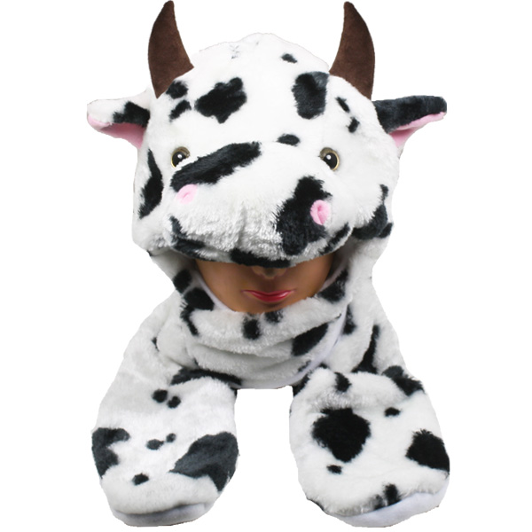Soft Plush Cow Animal Character Builtin Paws Mitten Hat (0026)