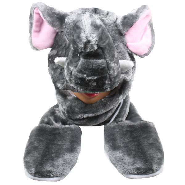 Cute Elephant Animal Character Builtin Paws Mittens Hat (078)