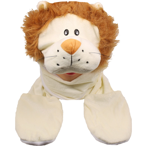 Cute Plush Lion Animal Character Builtin Paws Mittens Hat (072)