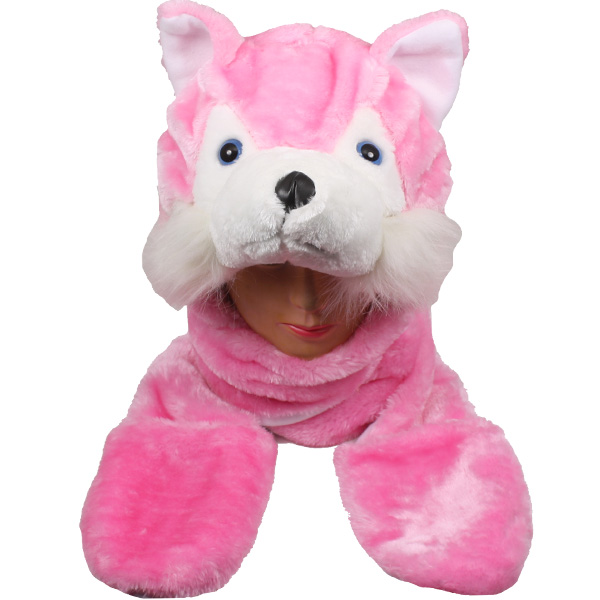 Cute Pink Cat Animal Character Builtin Paws Mitten Hat  (066)