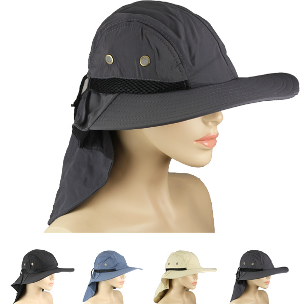 Men Waterproof Wide Brim Visor Neck Flap Hat (033)