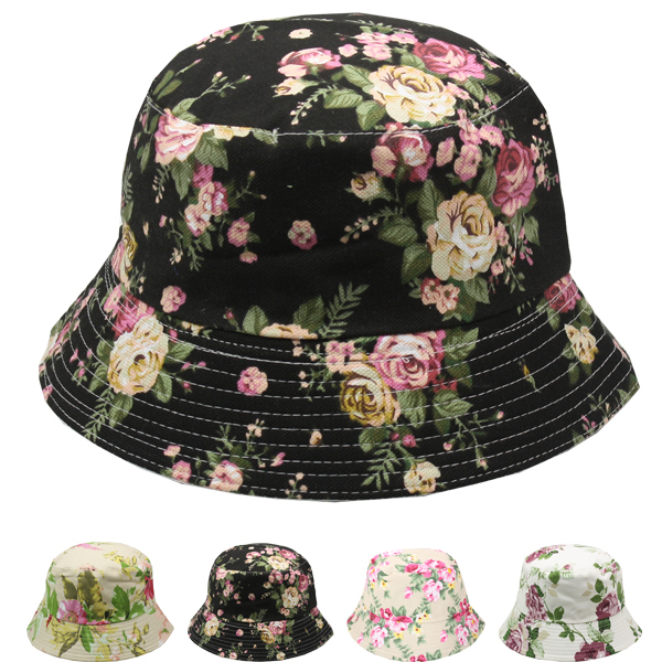 Floral Print Cotton Canvas Bucket Summer Hat (706)