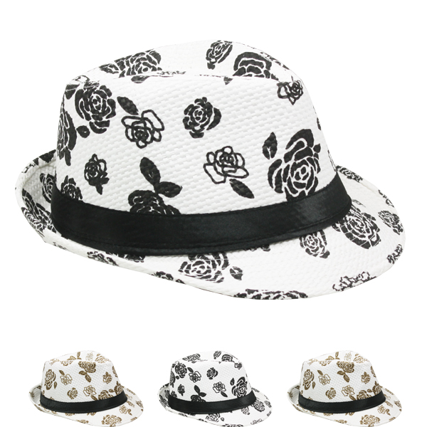 Trending White Floral Adult Casual Trilby Fedora Hat (029)