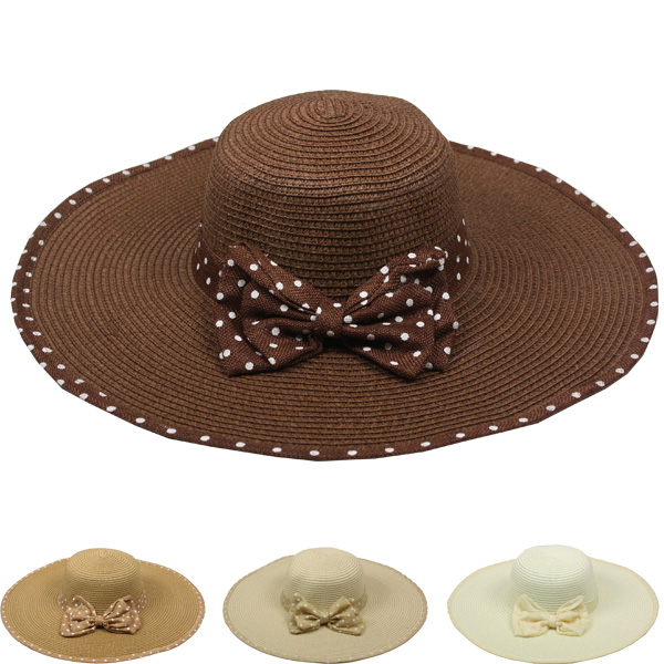 Women Wide Brim Bowtie Ribbon Summer Hat (104)