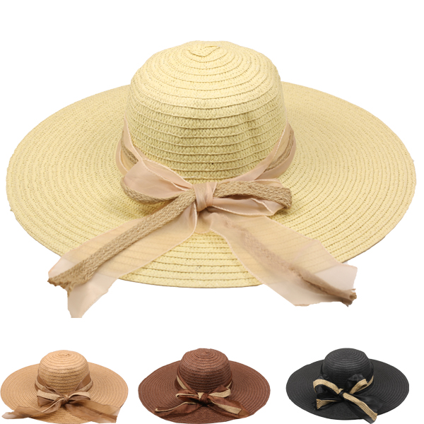 Women Wide Brim Bowknot Summer Beach Hat (016)