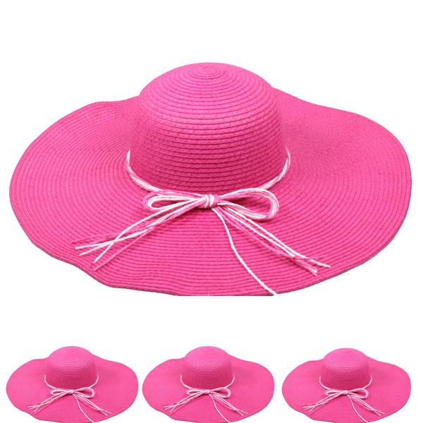 Pink Woman Floppy Summer Straw Hat (114)