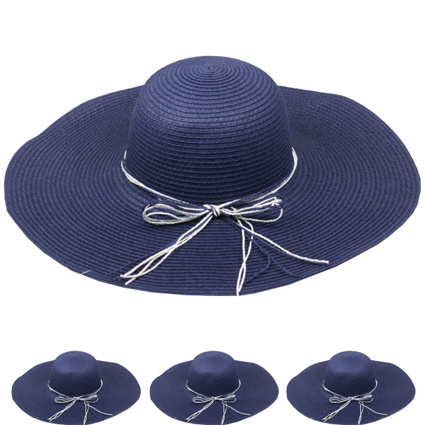Dark Blue Woman Floppy Summer Straw Hat (113)